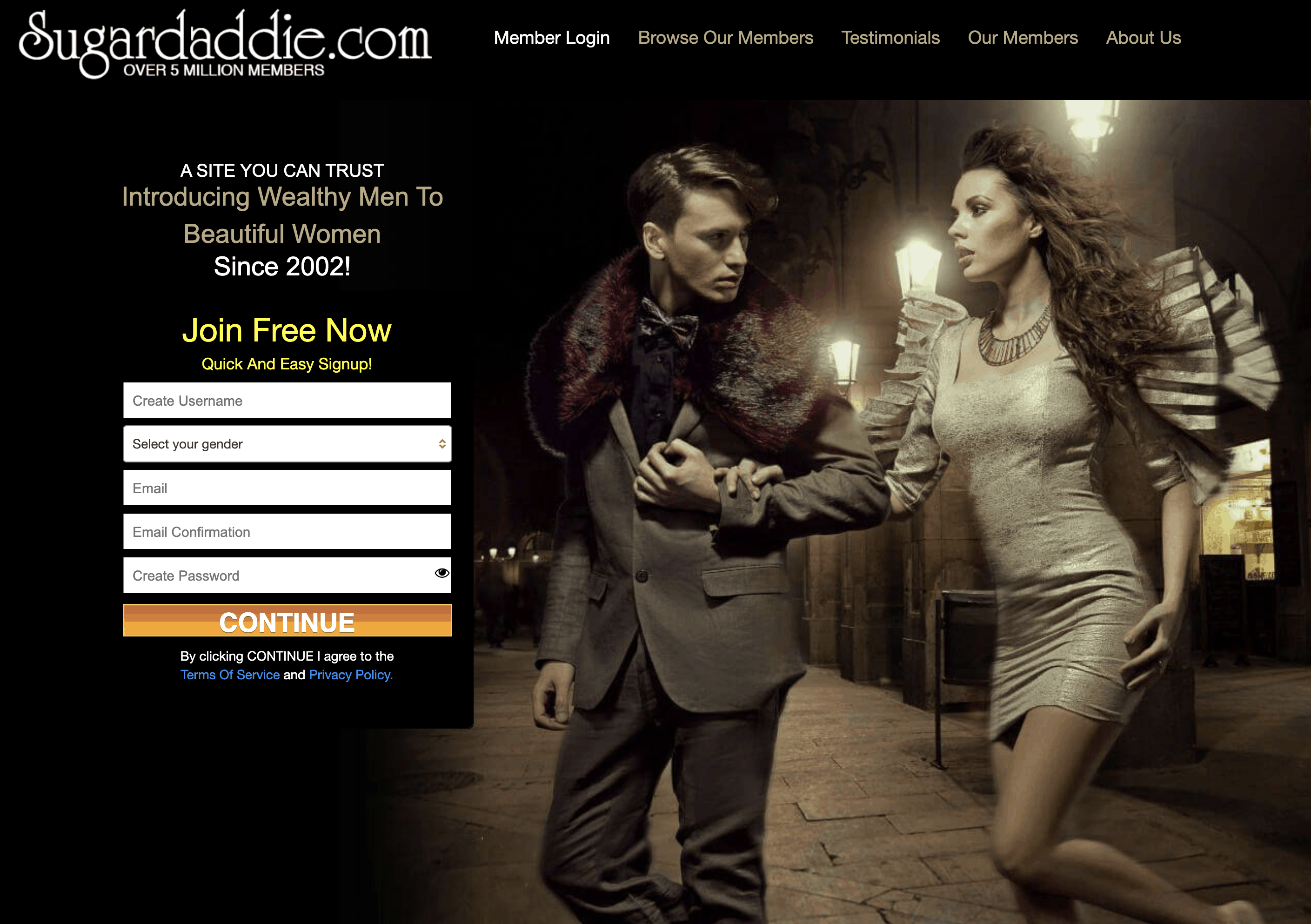 Sign-Up Page of SugarDaddie.com