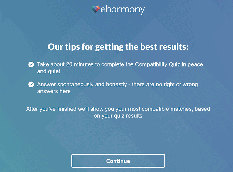 eharmony compatibility quiz tips